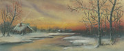 Winter Scene Pastels Framed Prints - Early winter Framed Print by Shelby Kube