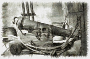 Manatee Co. Photos - Early Years of Artillery - Pencil by Nicholas Evans