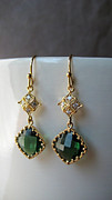 Summer Jewelry - Earrings emerald color glass gold plated italian handmade jewelry by Evelina Pastilati