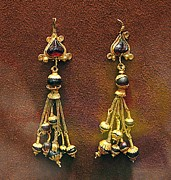 Ancient Greek Jewelry Prints - Earrings with garnets Print by Andonis Katanos