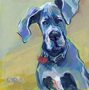 Great Dane Art Framed Prints - Ears Framed Print by Kimberly Santini