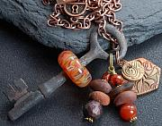 Boro Jewelry - Earth An Artist Collaboration Boro Glass Beaded Vintage Skeleton Key Necklace by Paula McDonough