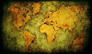 Earth Map  Digital Art Prints - Earth and Brine Print by Brett Pfister