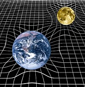 Theory Of Relativity Prints - Earth And Moon Space-time Warp, Artwork Print by Victor De Schwanberg
