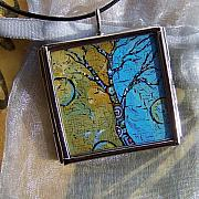 Acrylic Necklace Jewelry - Earth and Sky Art Tree by Dana Marie