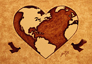 Planet Map Painting Prints - Earth Day Gaia Celebration coffee painting Print by Georgeta  Blanaru