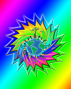 Linda D Seacord Posters - Earth Day Sunburst Transparent Poster by Linda Seacord