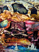 Rocks Tapestries - Textiles Originals - Earth Detail Three by Kimberly Simon
