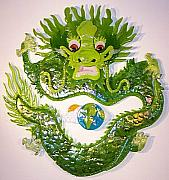 Asian Glass Art - Earth Dragon Circle by Michelle Rial
