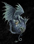 Planet Digital Art Posters - Earth Dragon Poster by Rob Carlos