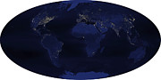 Planet Map Prints - Earth's Human-generated Nighttime Print by Stocktrek Images