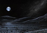 Moon Surface Posters - Earth From The Moon, Artwork Poster by Richard Bizley