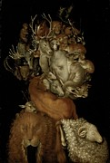 Horn Metal Prints - Earth Metal Print by Giuseppe Arcimboldo