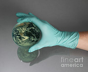 Glove Prints - Earth Inside A Petri Dish Print by Photo Researchers