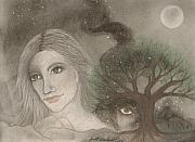 Spirits Drawings - Earth Mother with Spirits of the Night by Janet Hinshaw