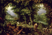 Bible Painting Prints - Earth or The Earthly Paradise Print by Jan the Elder Brueghel