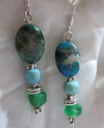 Silver Turquoise Jewelry - Earth Sea and Sky Earrings by Janet  Telander