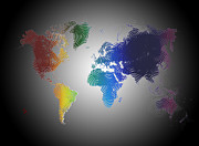 World Map Painting Posters - Earth-Shake World Map Poster by Adam Vance