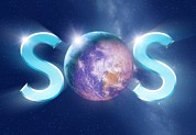 Environmental Science Posters - Earth Sos, Conceptual Image Poster by Detlev Van Ravenswaay