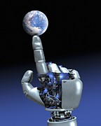 Future Tech Posters - Earth Spinning On Robotic Finger, Artwork Poster by Victor Habbick Visions