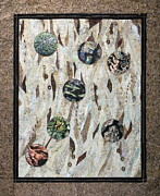 Fabric Quilts Tapestries - Textiles Posters - Earth Textures Poster by Patty Caldwell