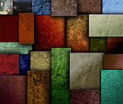 Angela Waye Prints - Earth Tone Texture Square Patterns Print by Angela Waye