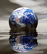 Flooding Digital Art Prints - Earth Print by Victor Habbick Visions and Photo Researchers