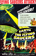 1950s Poster Art Framed Prints - Earth Vs. The Flying Saucers, 1956 Framed Print by Everett