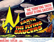 Lobbycard Framed Prints - Earth Vs. The Flying Saucers, Far Right Framed Print by Everett