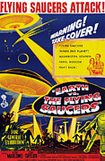 1950s Poster Art Framed Prints - Earth Vs. The Flying Saucers, Joan Framed Print by Everett