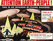 1950s Poster Art Framed Prints - Earth Vs. The Flying Saucers, Right Framed Print by Everett