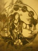 Circle Glass Art Originals - Earth Woman by Austen Brauker
