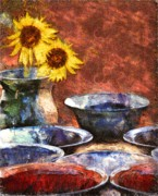 Bowls Mixed Media Framed Prints - Earthen Framed Print by Darla Sikes