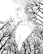 Bare Trees Drawings Metal Prints - Earthmother Metal Print by William Ground