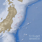 Aftershock Prints - Earthquake And Tsunami Near Sendai Print by National Aeronautics and Space Administration