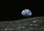 Moon Surface Posters - Earthrise Photograph, Artwork Poster by Richard Bizley