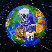 Lion Lamb Prints - Earths Rightful Ruler Print by EJ Lefavour