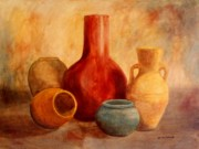 Pottery Paintings - Earthtone Pottery by Anita Carden