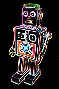Neon Digital Art - Easel Back Robot by DB Artist