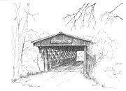 Covered Bridge Drawings Posters - Easley Bridge Poster by Barney Hedrick