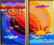 Sun Glass Art - East and West by Danuta Duminica