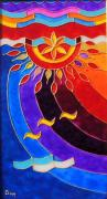 Sun Glass Art Originals - East and West panel West by Danuta Duminica