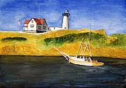 East Coast Lighthouse With Crab Boat Print by Robert Thomaston