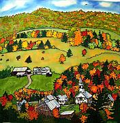 New England Village Tapestries - Textiles Posters - East Corinth Village Poster by Linda Marcille