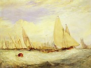 Sailing Paintings - East Cowes Castle the Seat of J Nash Esq. the Regatta Beating to Windward by Joseph Mallord William Turner
