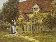 Victorian Gate Framed Prints - East End Farm Moss Lane Pinner Framed Print by Helen Allingham