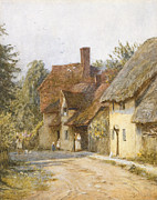 Entrance Door Framed Prints - East Hagbourne Berkshire Framed Print by Helen Allingham