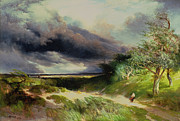 Cloudy Paintings - East HamptonLong Island Sand Dunes by Thomas Moran