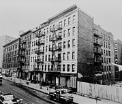 New York City Fire Escapes Photos - East Harlem Street And Large Tenement by Everett