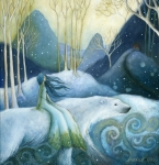 Fairytale Painting Posters - East of the Sun West of the Moon Poster by Amanda Clark